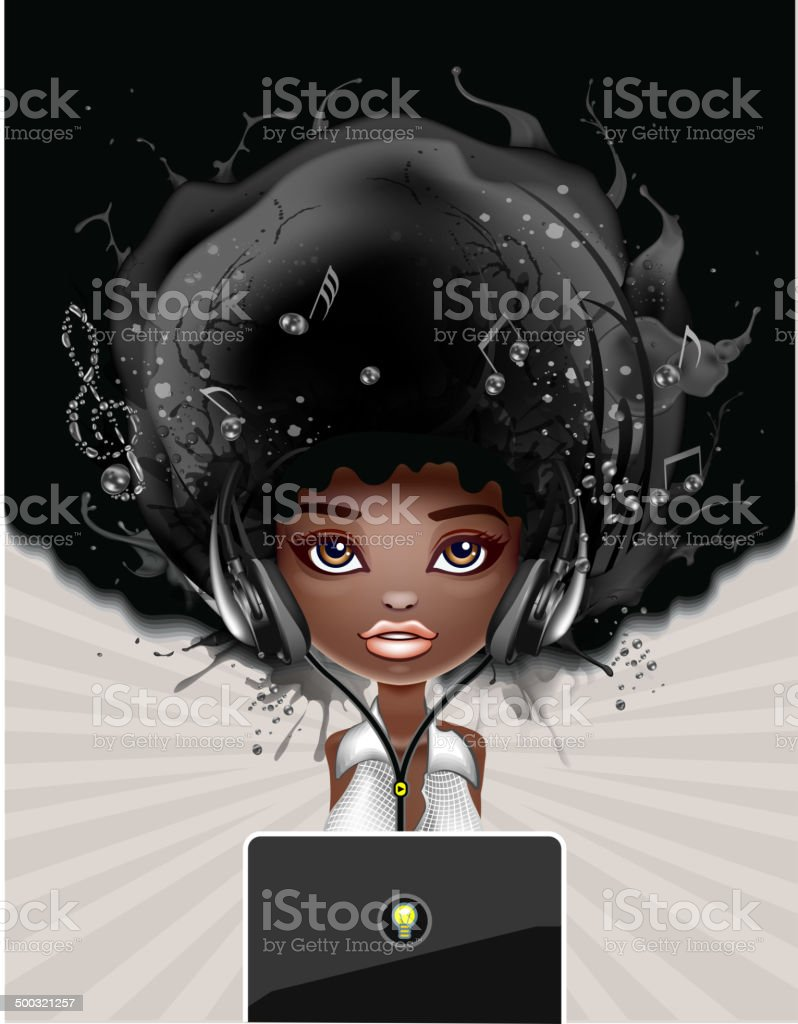 Beautiful Girl with laptop vector art illustration