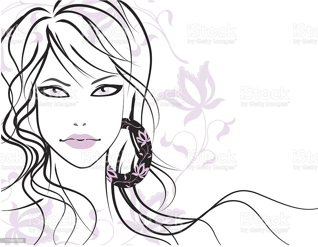 Beautiful girl with long hair royalty-free stock vector art