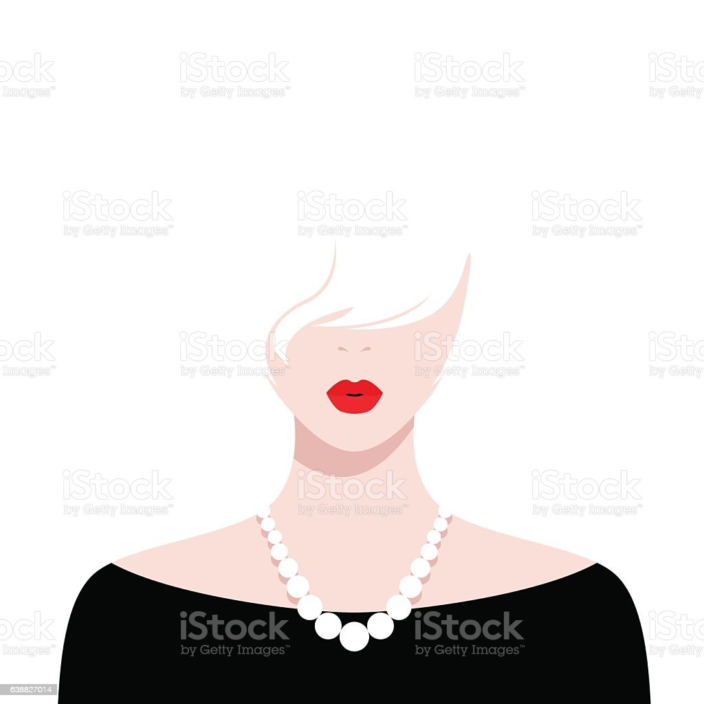 Beautiful girl with red lips and white hair vector art illustration