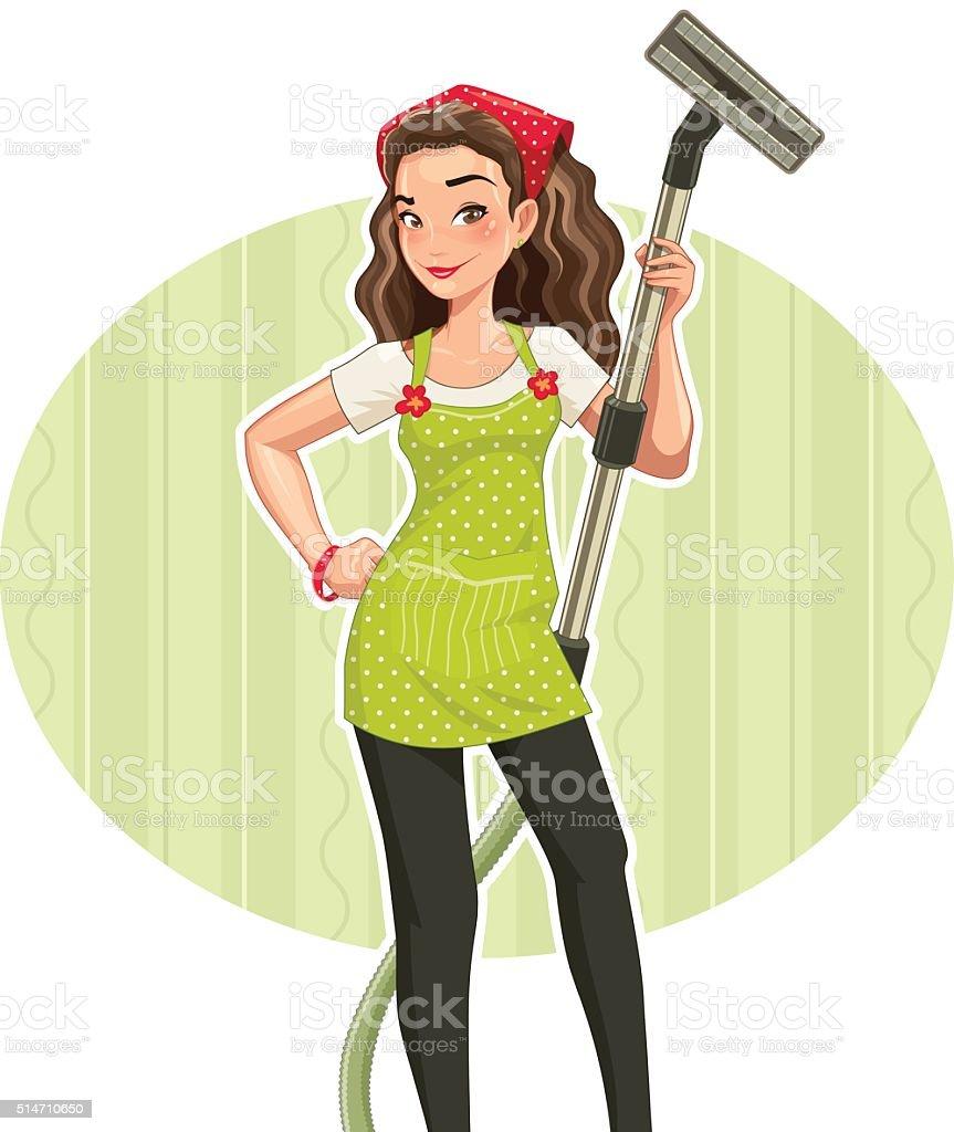 Beautiful girl with vakuum clenar vector art illustration