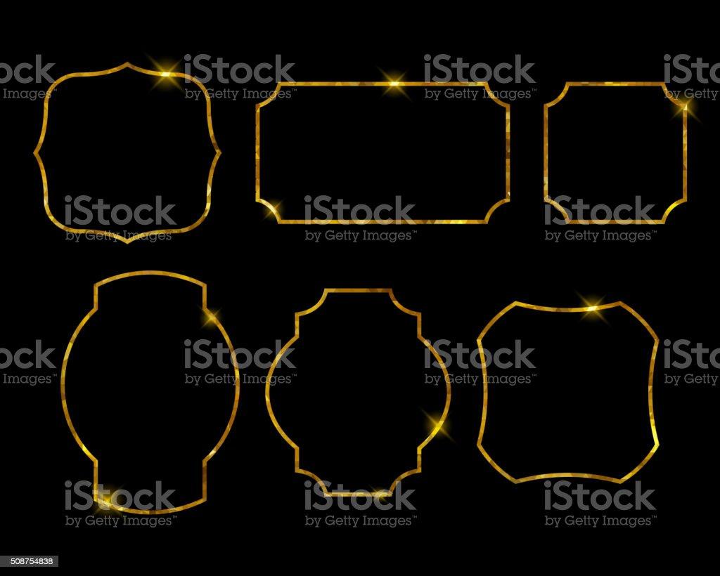 Beautiful golden frames set. Luxury vector illustration vector art illustration