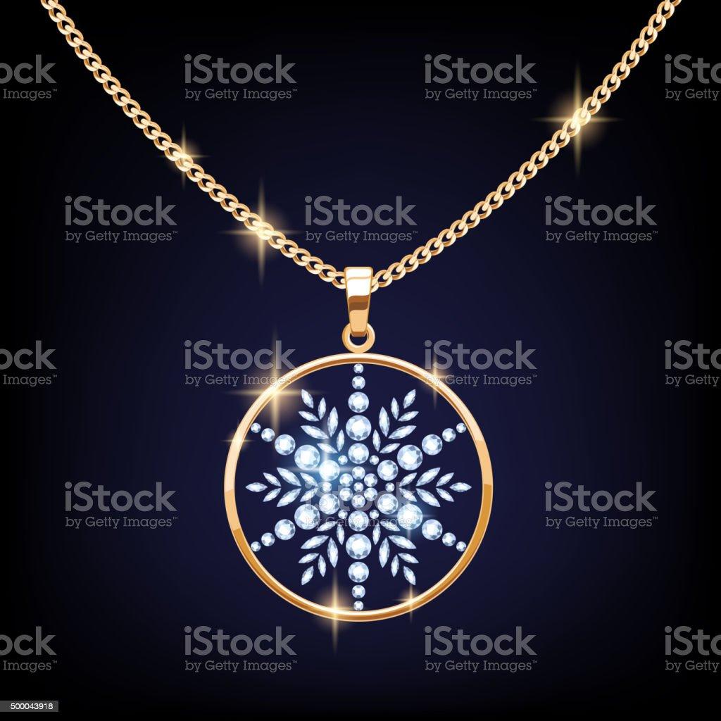Beautiful golden snowflake pendant vector illustration vector art illustration