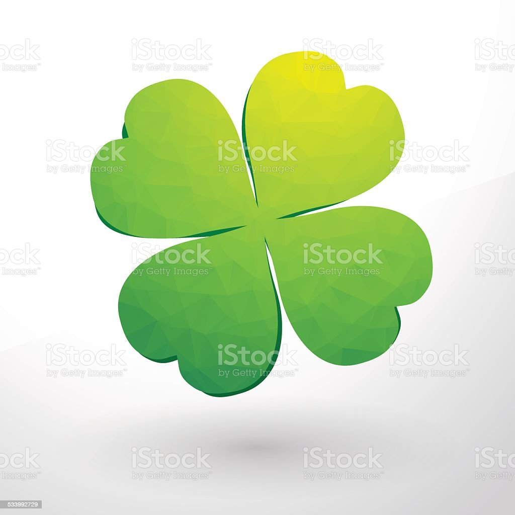 beautiful green cloverleaf vector art illustration