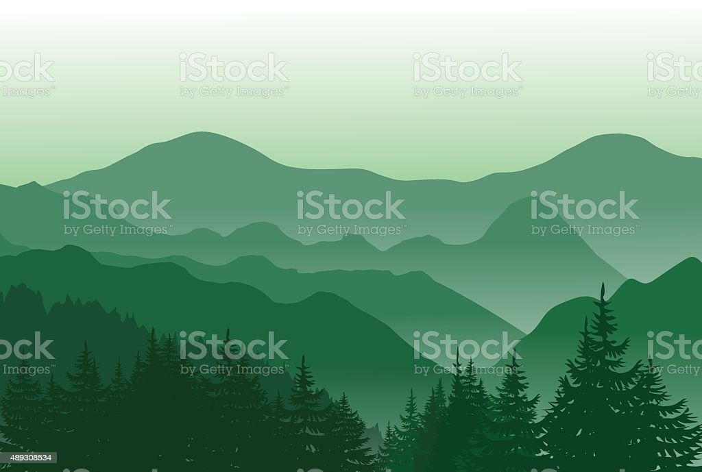 Beautiful green mountains. Summer landscape. vector art illustration