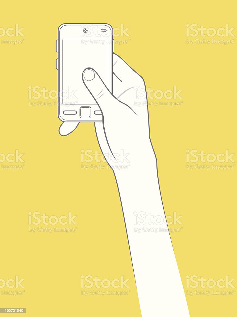 Beautiful hand holding a smart phone in outline version vector art illustration