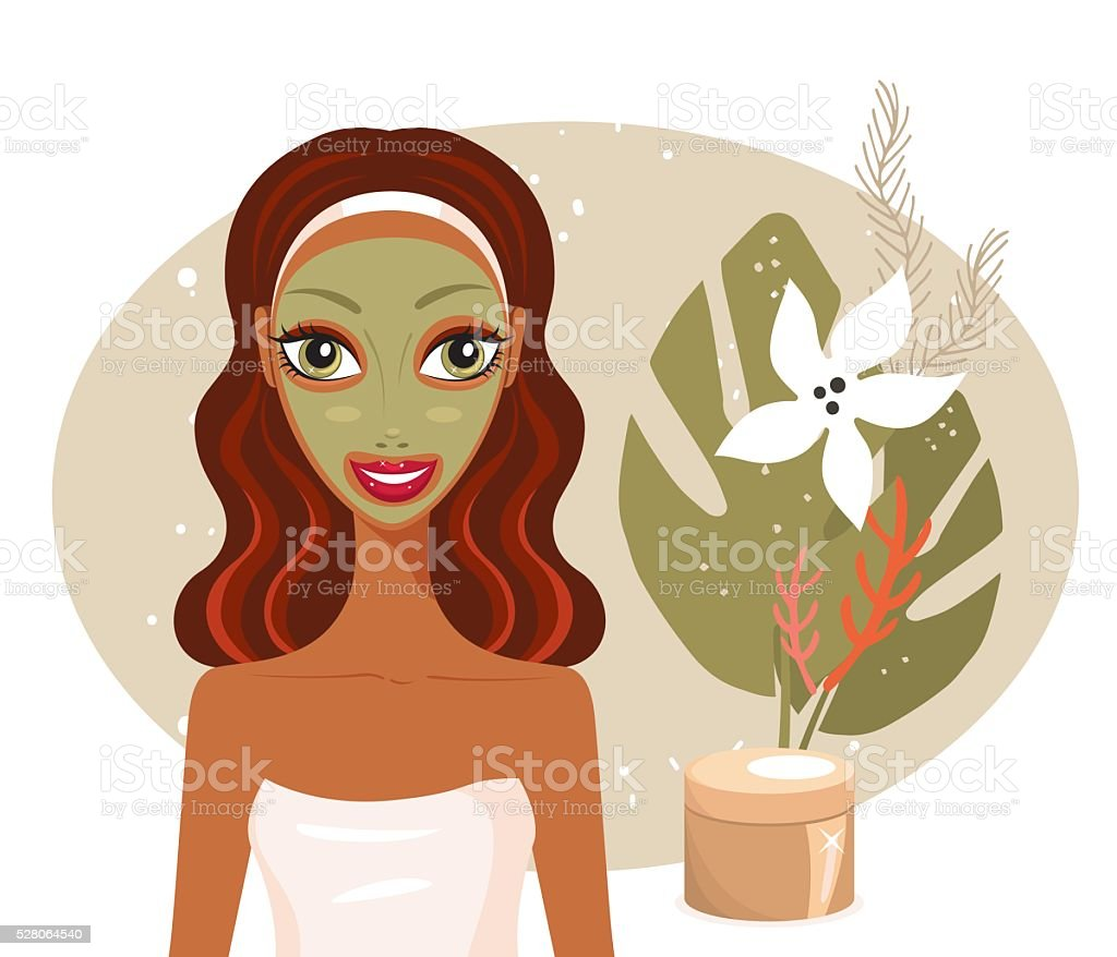 Beautiful happy woman with face mask Spa Skin care concept vector art illustration