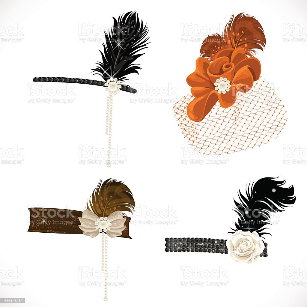 Beautiful headbands and hat with feathers vector art illustration