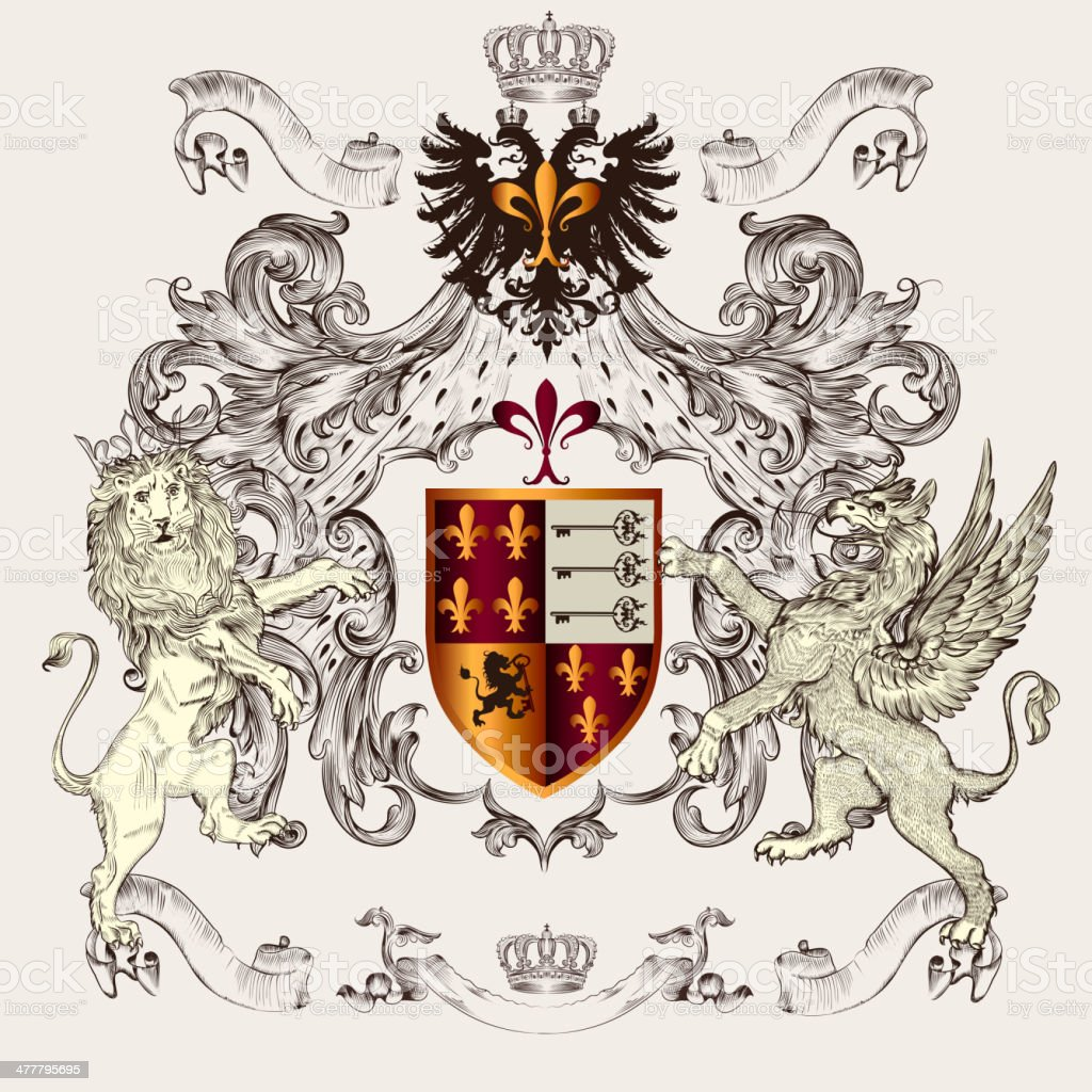 Beautiful heraldic design with shield, crown, griffin and lion royalty-free stock vector art