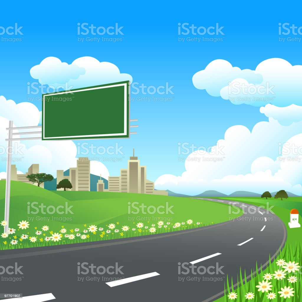 Beautiful Highway with Sign royalty-free stock vector art