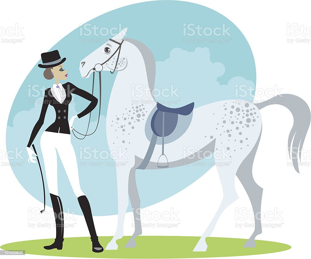 Beautiful horsewoman royalty-free stock vector art