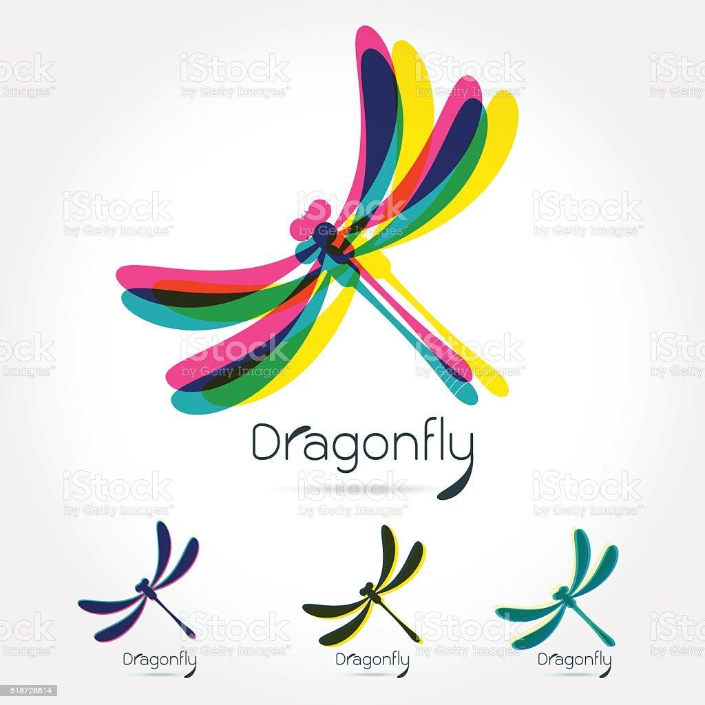 Beautiful icon dragonfly vector art illustration