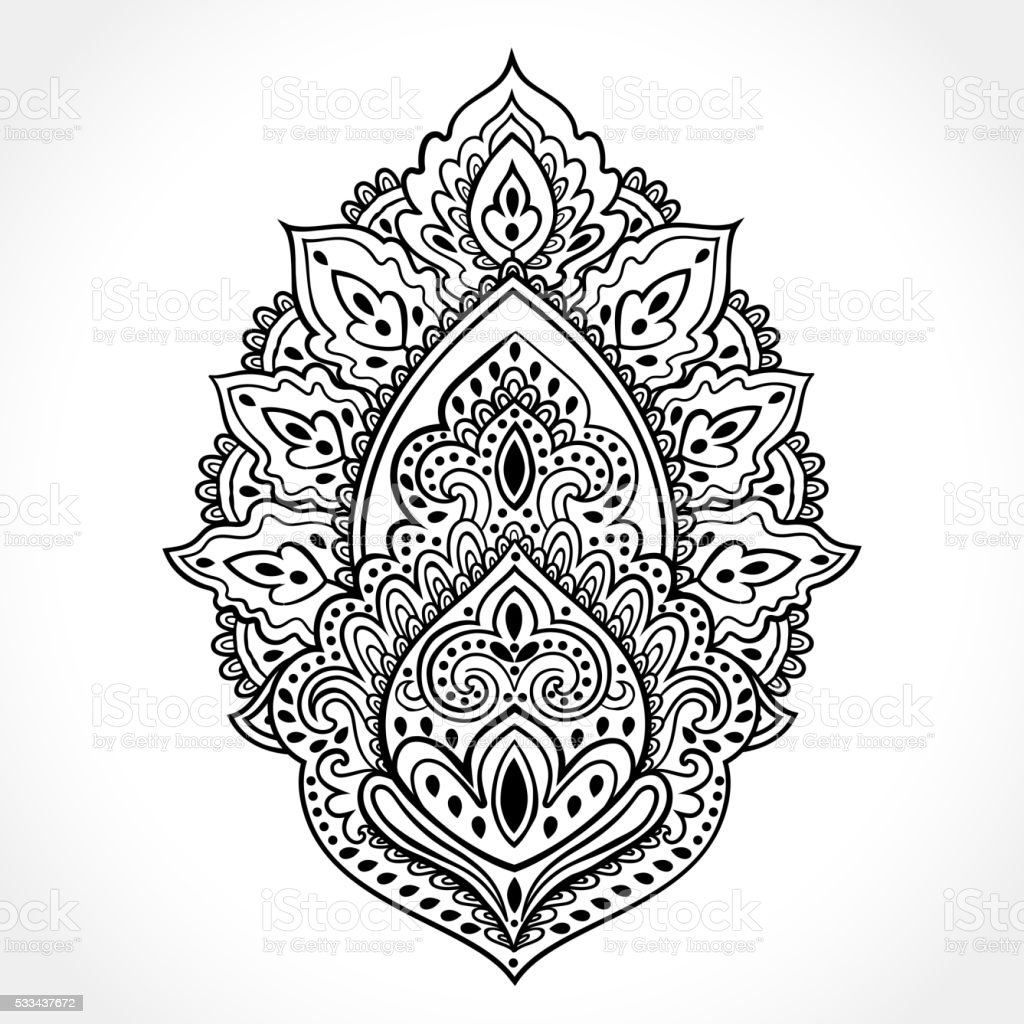 sch ne indische floral verzierung ethnische mandala hennatattoo s vektor illustration 533437672. Black Bedroom Furniture Sets. Home Design Ideas