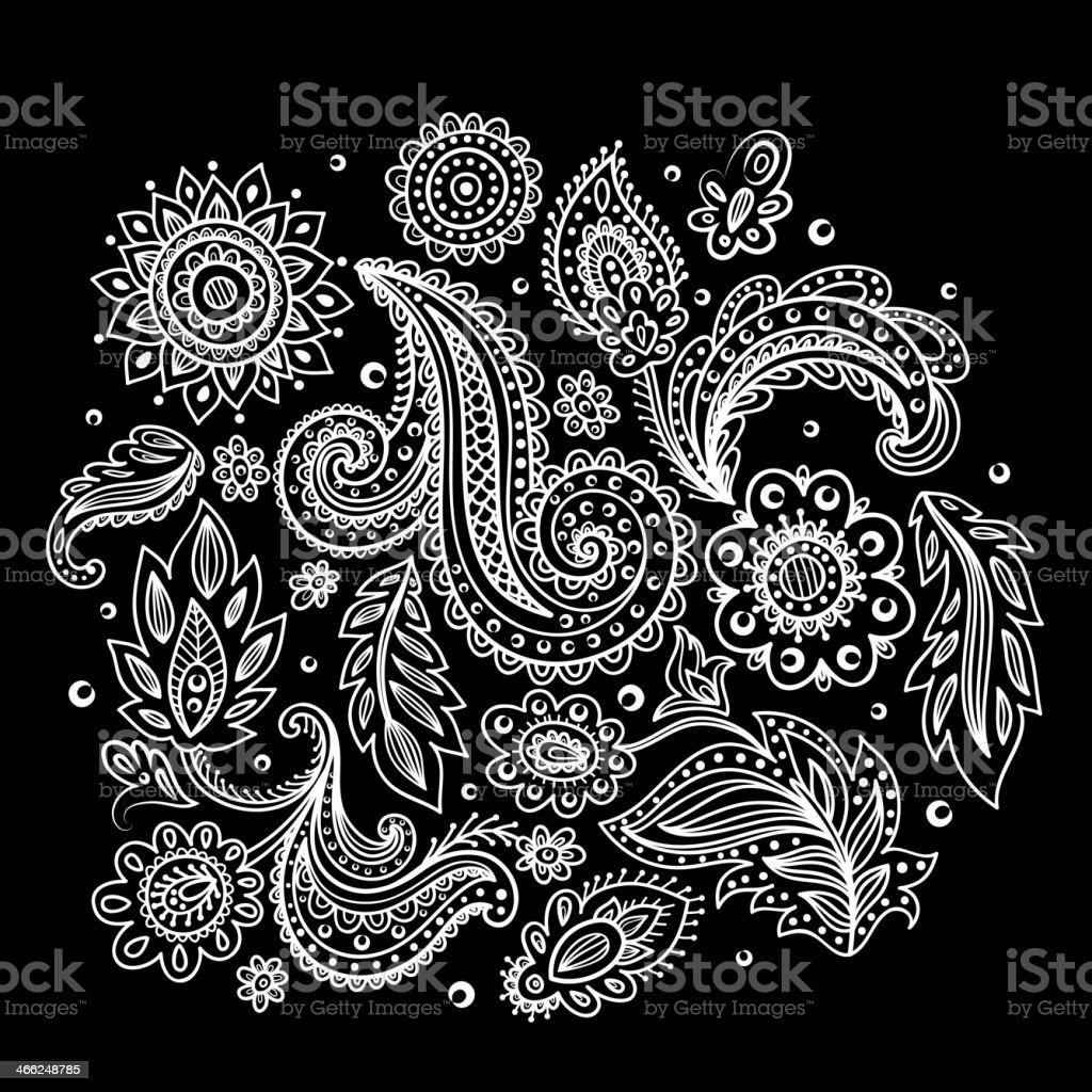 Beautiful Indian floral ornament vector art illustration