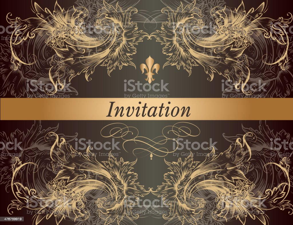 Beautiful invitation card in vintage classic style royalty-free stock vector art