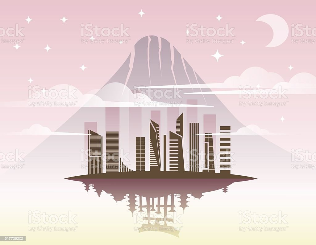Beautiful Japan Travel Landmarks. vector art illustration