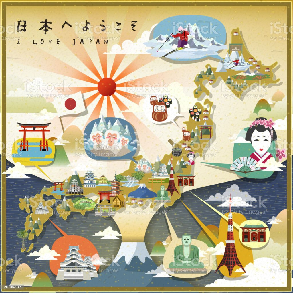beautiful Japan travel map vector art illustration