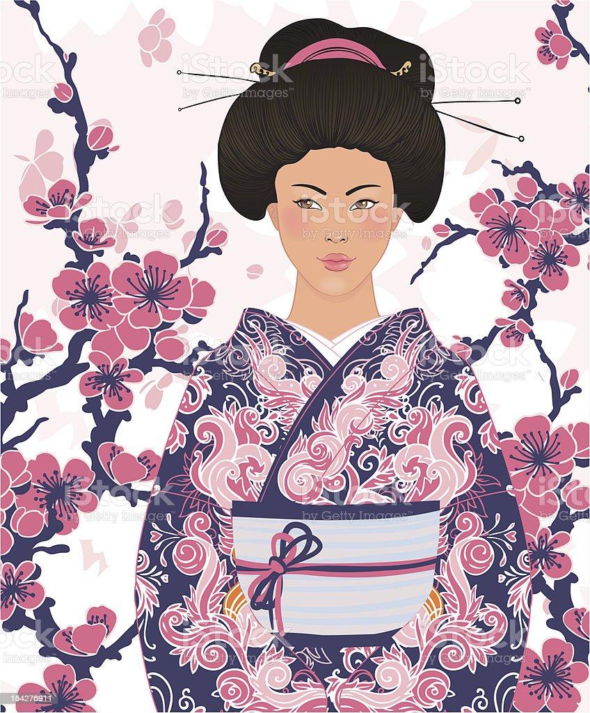 Beautiful japanese woman in kimono, on sakura background royalty-free stock vector art