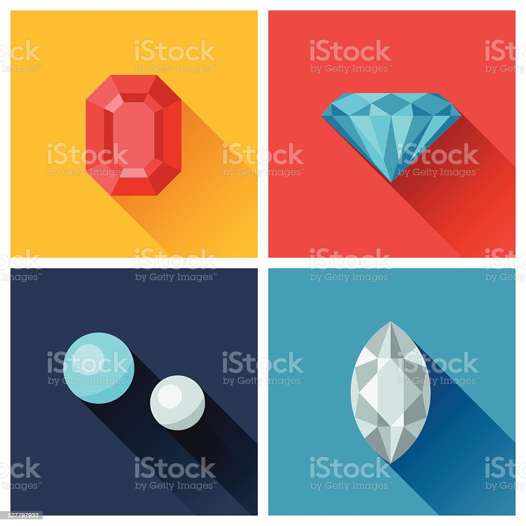 Beautiful jewelry precious stones in flat design style. vector art illustration