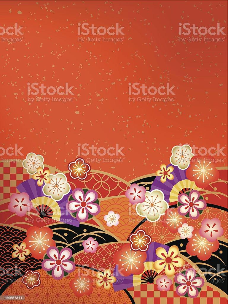 Beautiful kimono of Japan vector art illustration