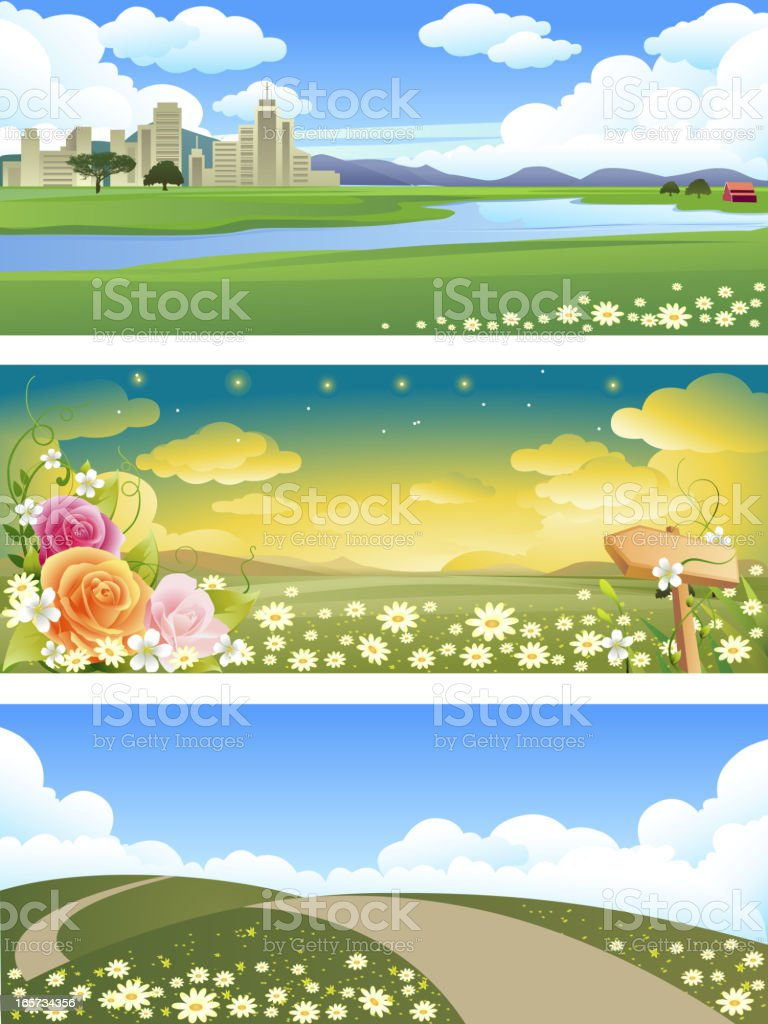 Beautiful Landscape Banners royalty-free stock vector art