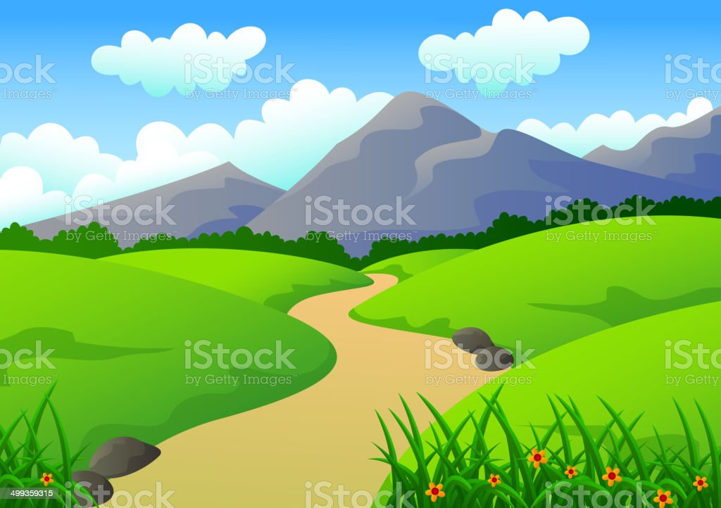 Beautiful Landscape with Mountain, Grass, and Hills royalty-free stock vector art