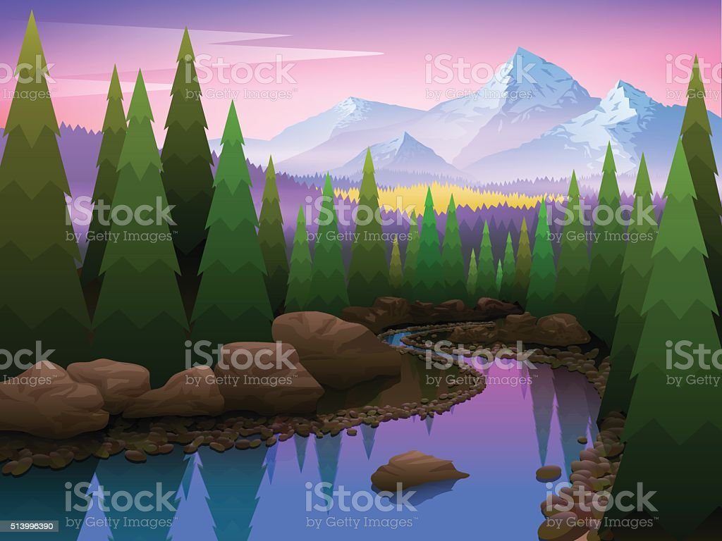 Beautiful Landscape with trees and mountains vector art illustration