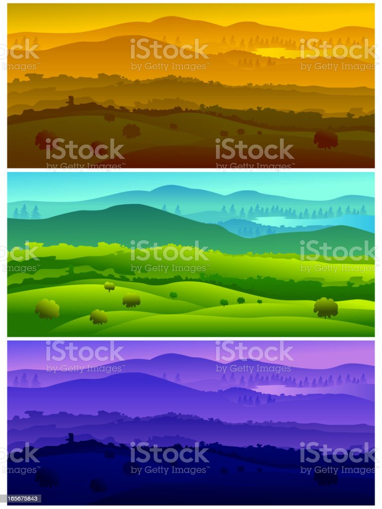 Beautiful landscapes, representing time of the Day vector art illustration