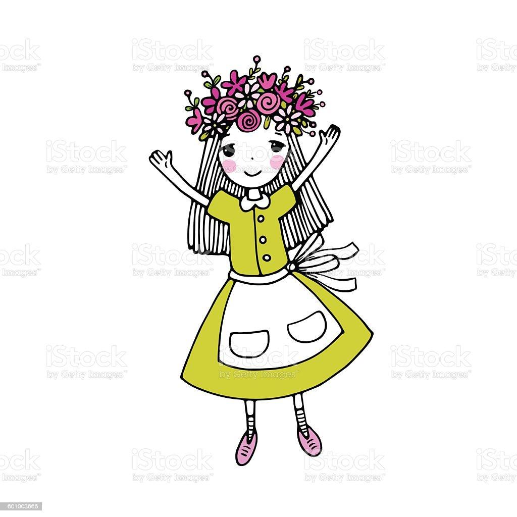 Beautiful little girl in a wreath. vector art illustration