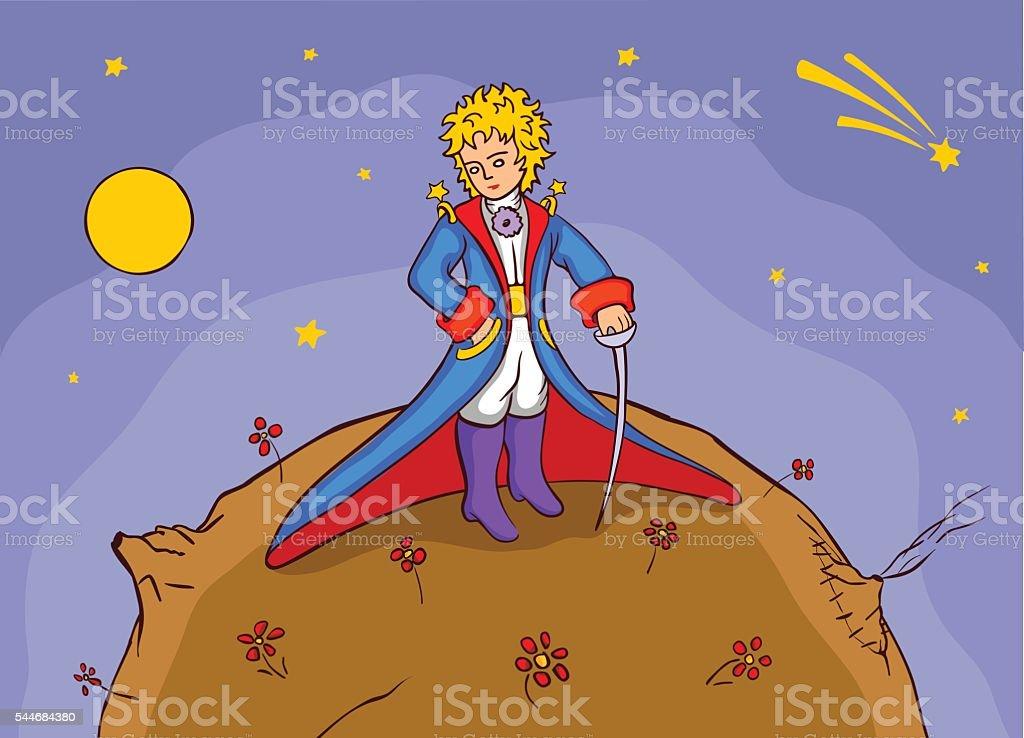 Beautiful little prince vector art illustration