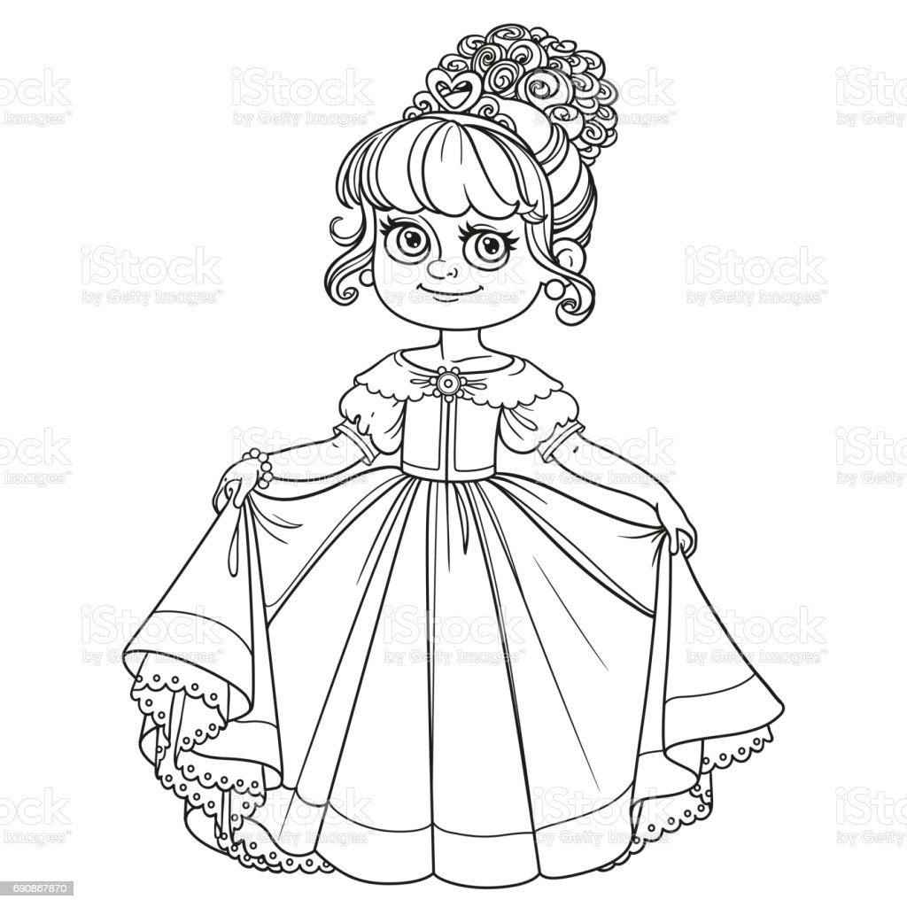 Coloring book princess crowns - Baby Baby Girls Child Crown Headwear Dress Beautiful Little Princess Curtsies Outlined For Coloring Book