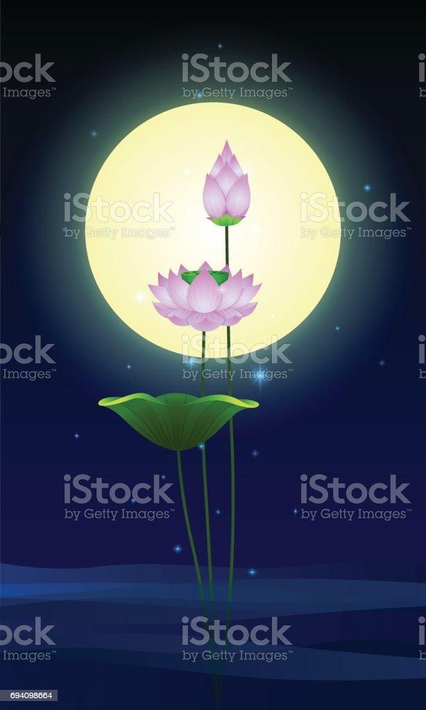 Beautiful lotus flowers with full moon illustration vector art illustration