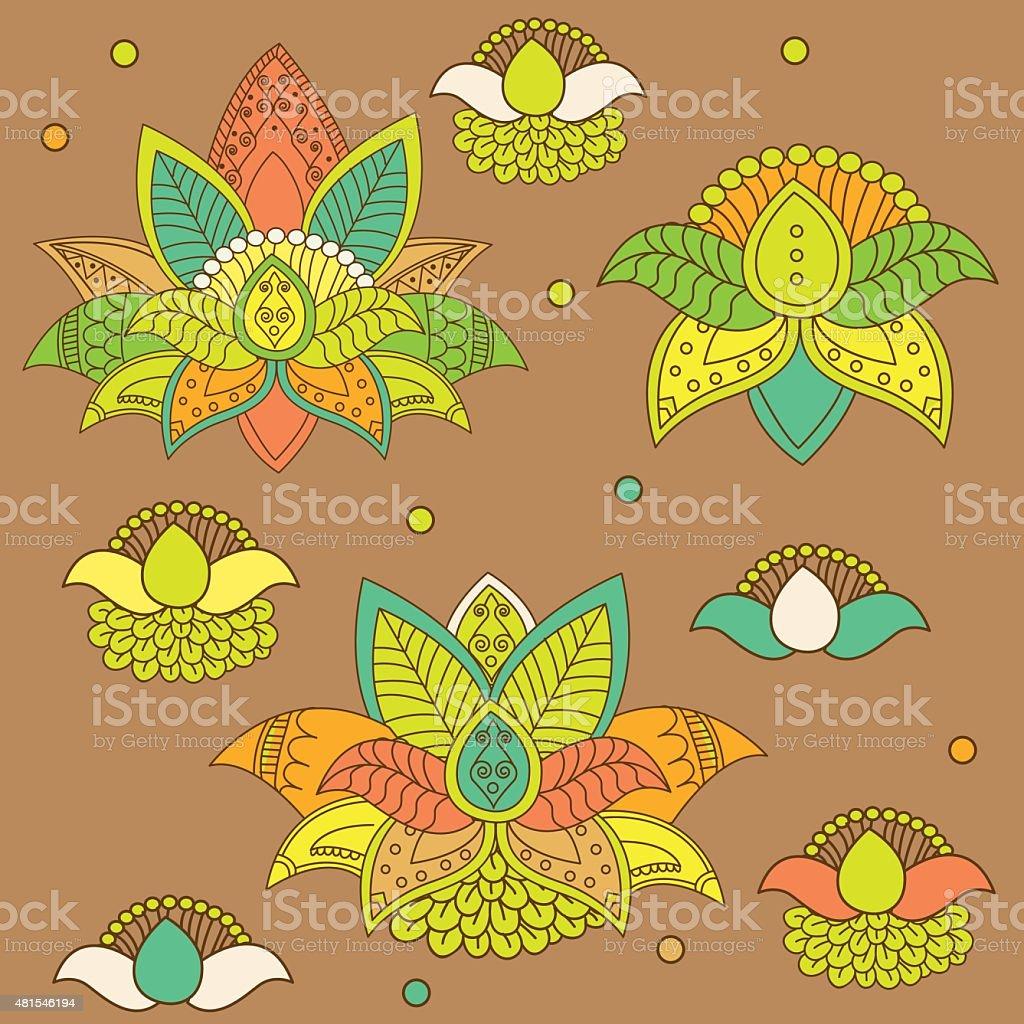 Beautiful Lotus: Ornament Vector Yoga. Hand Drawn Element. vector art illustration