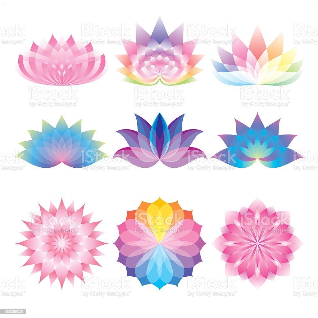 beautiful lotus set vector art illustration
