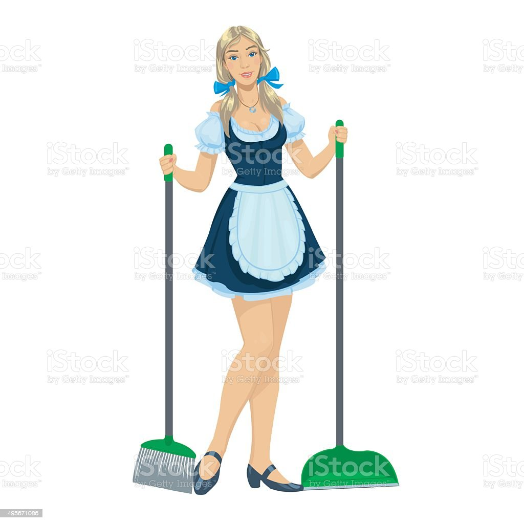 beautiful maid cleaner royalty-free stock vector art