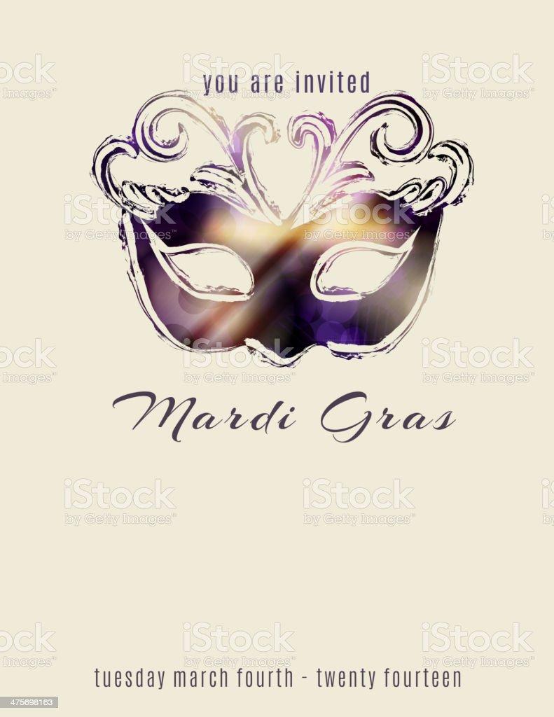 Beautiful mardi gras mask flyer template vector art illustration