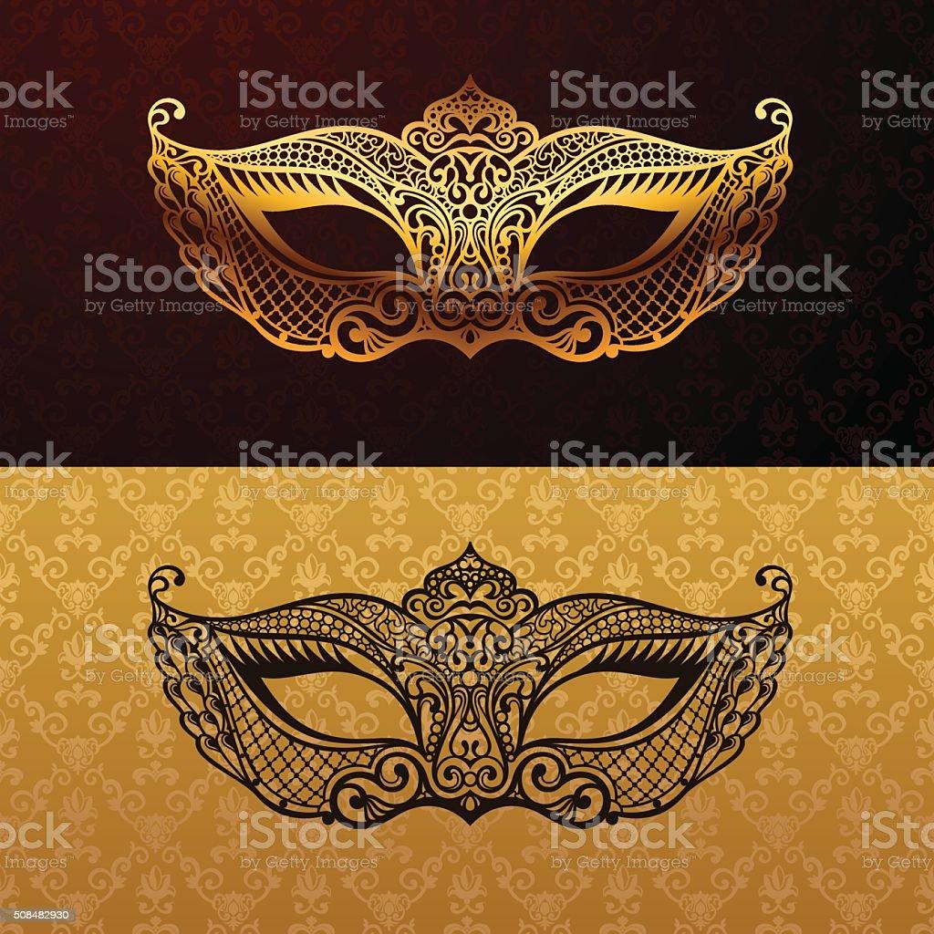 Beautiful mask of lace. Mardi Gras vector background vector art illustration
