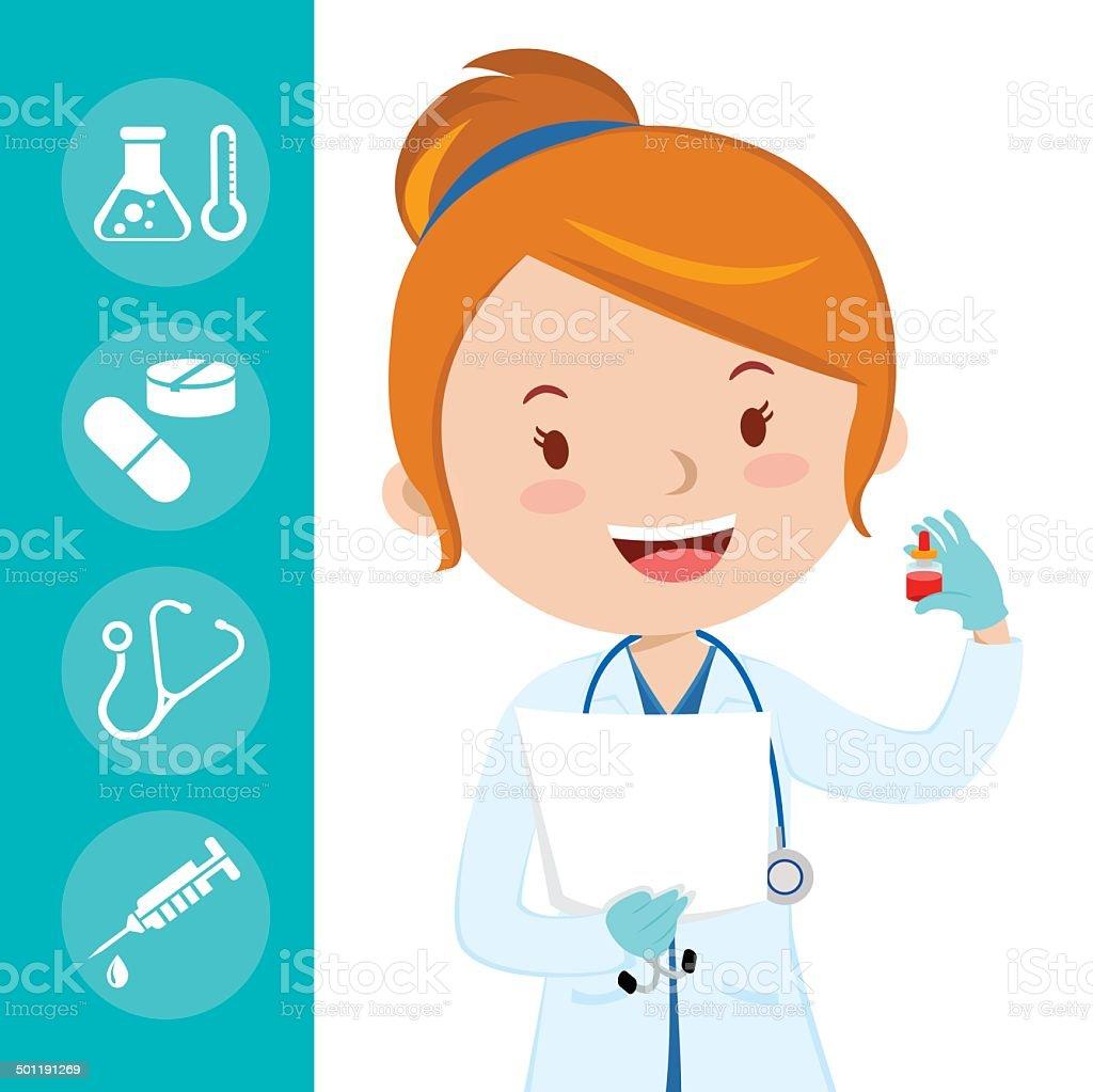 Beautiful medical doctor vector art illustration