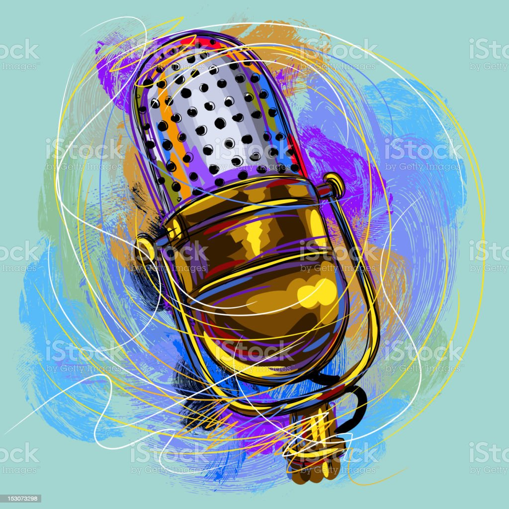 Beautiful Microphone vector art illustration