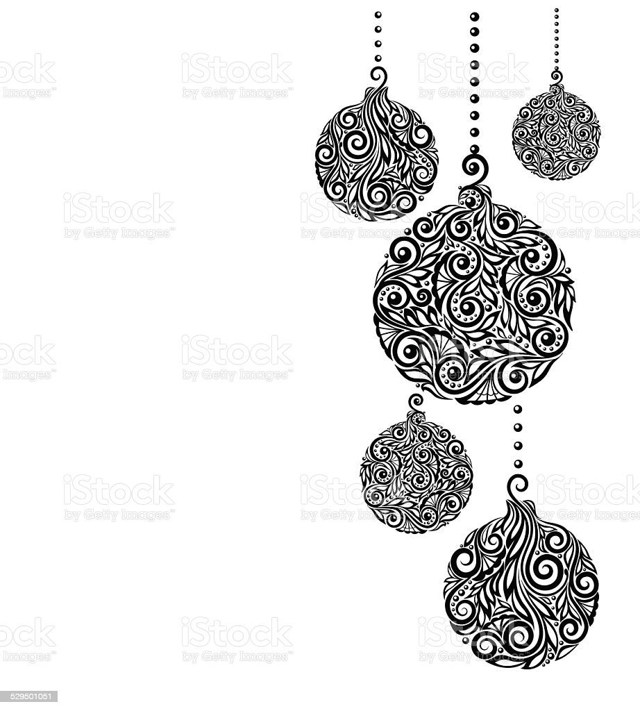beautiful monochrome Black and White Christmas background with Christmas balls Hanging vector art illustration