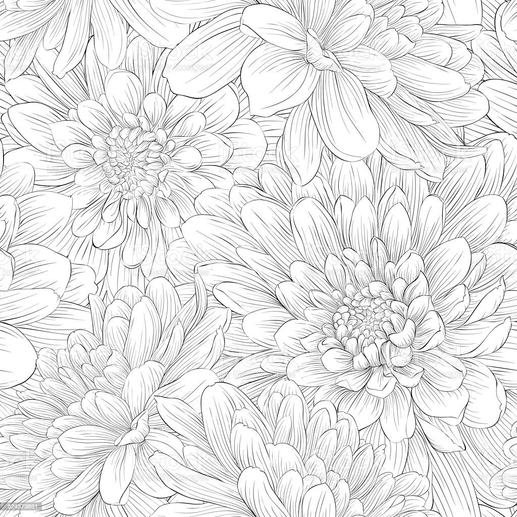Beautiful monochrome black and white  seamless background with flowers. vector art illustration