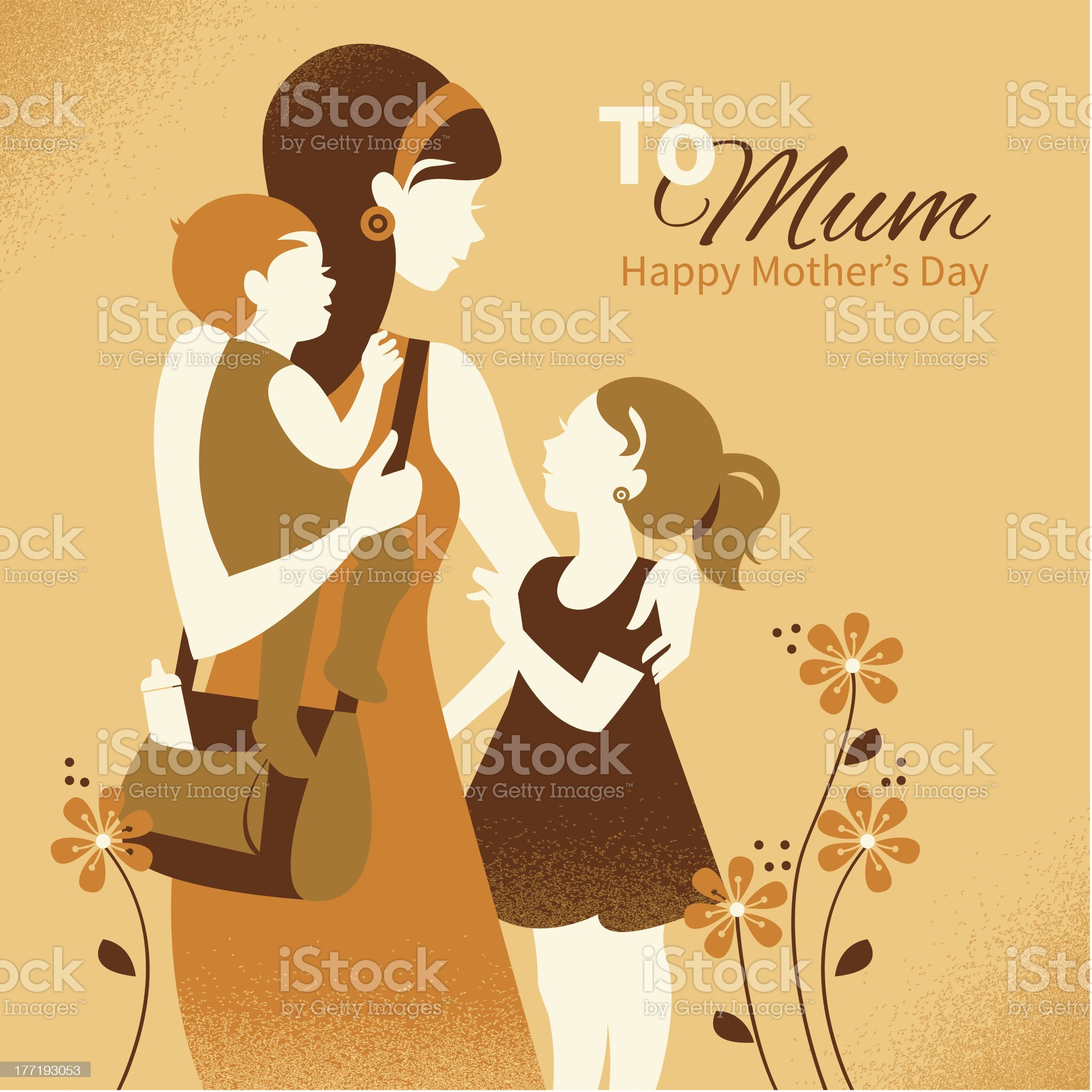 Beautiful mother silhouette with her children royalty-free stock vector art