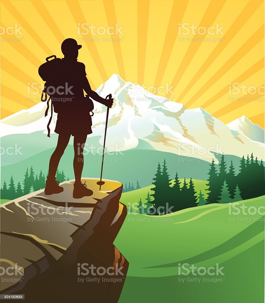 Beautiful Mountain and the Hiker vector art illustration