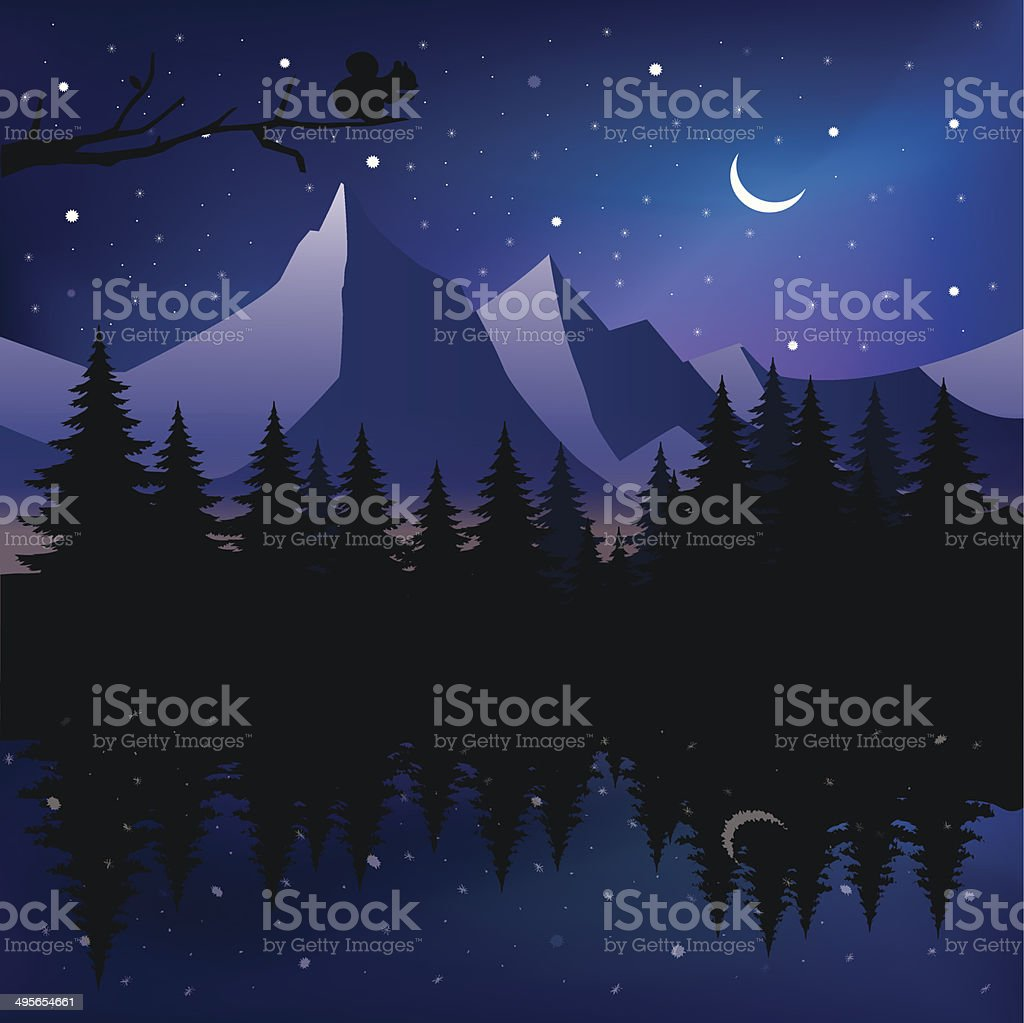 Beautiful mountain lake - Illustration vector art illustration