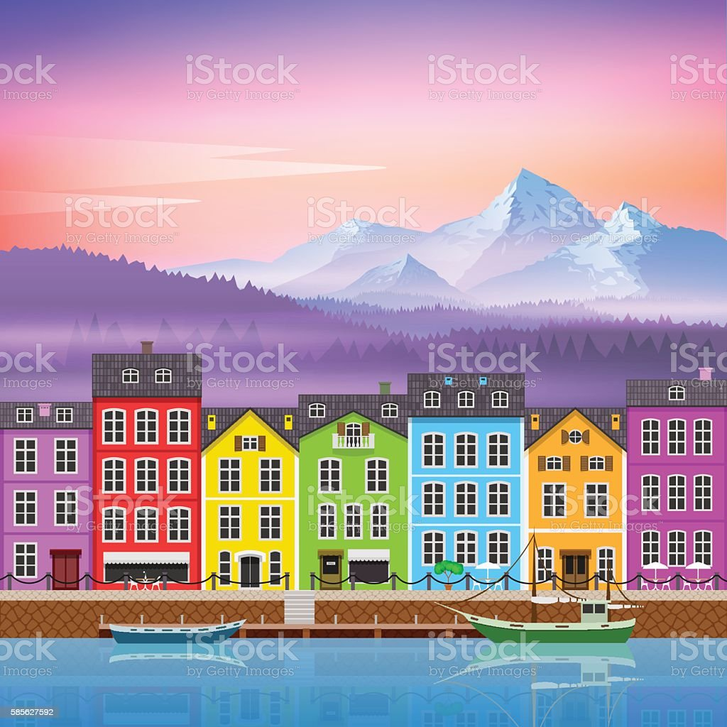 Beautiful Mountain Landscape with Colorful Houses vector art illustration