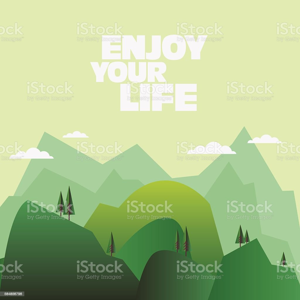 Beautiful mountain landscape with pine forest vector art illustration
