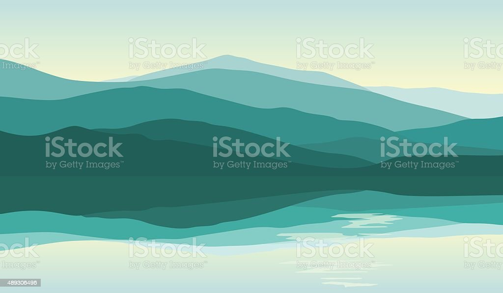 Beautiful mountain landscape with reflection in the water vector art illustration