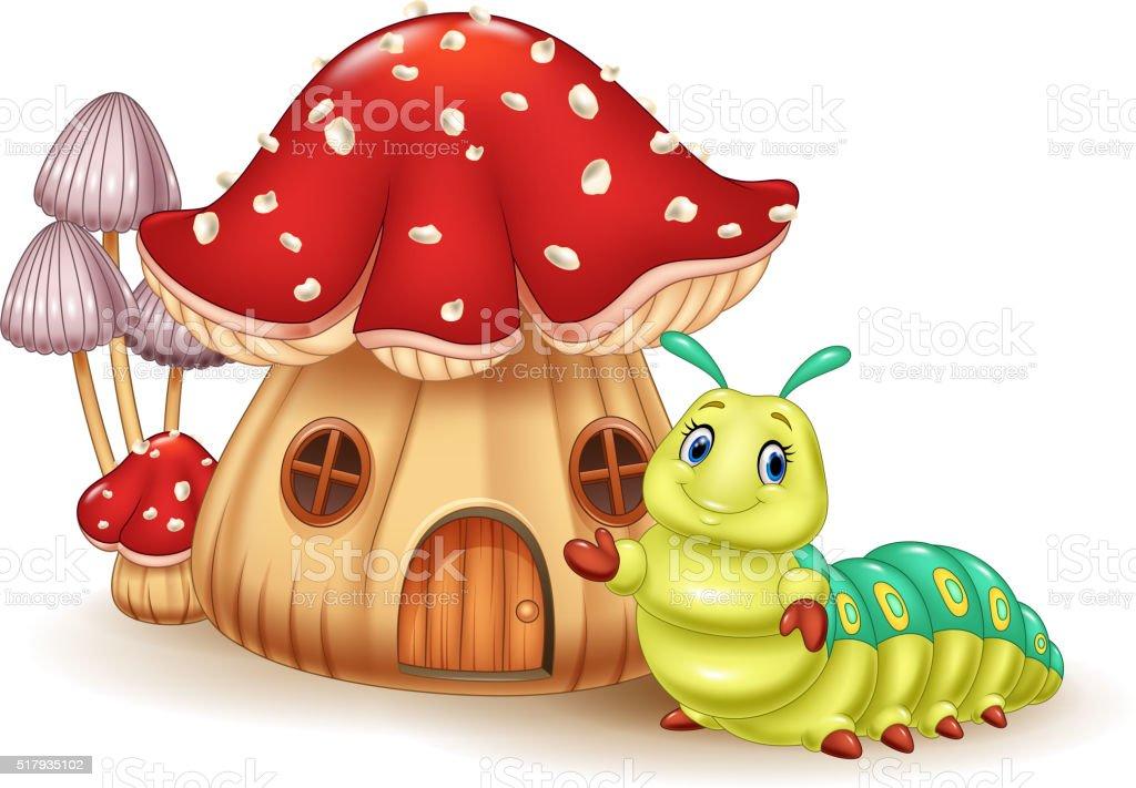 Beautiful mushroom house and cute caterpillar vector art illustration