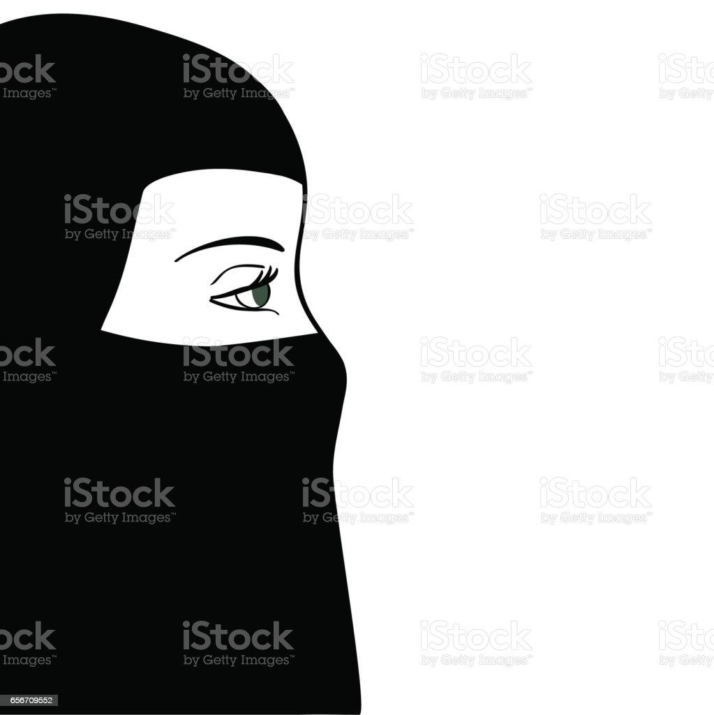 Beautiful muslim woman in black nijab. Vector illustration vector art illustration