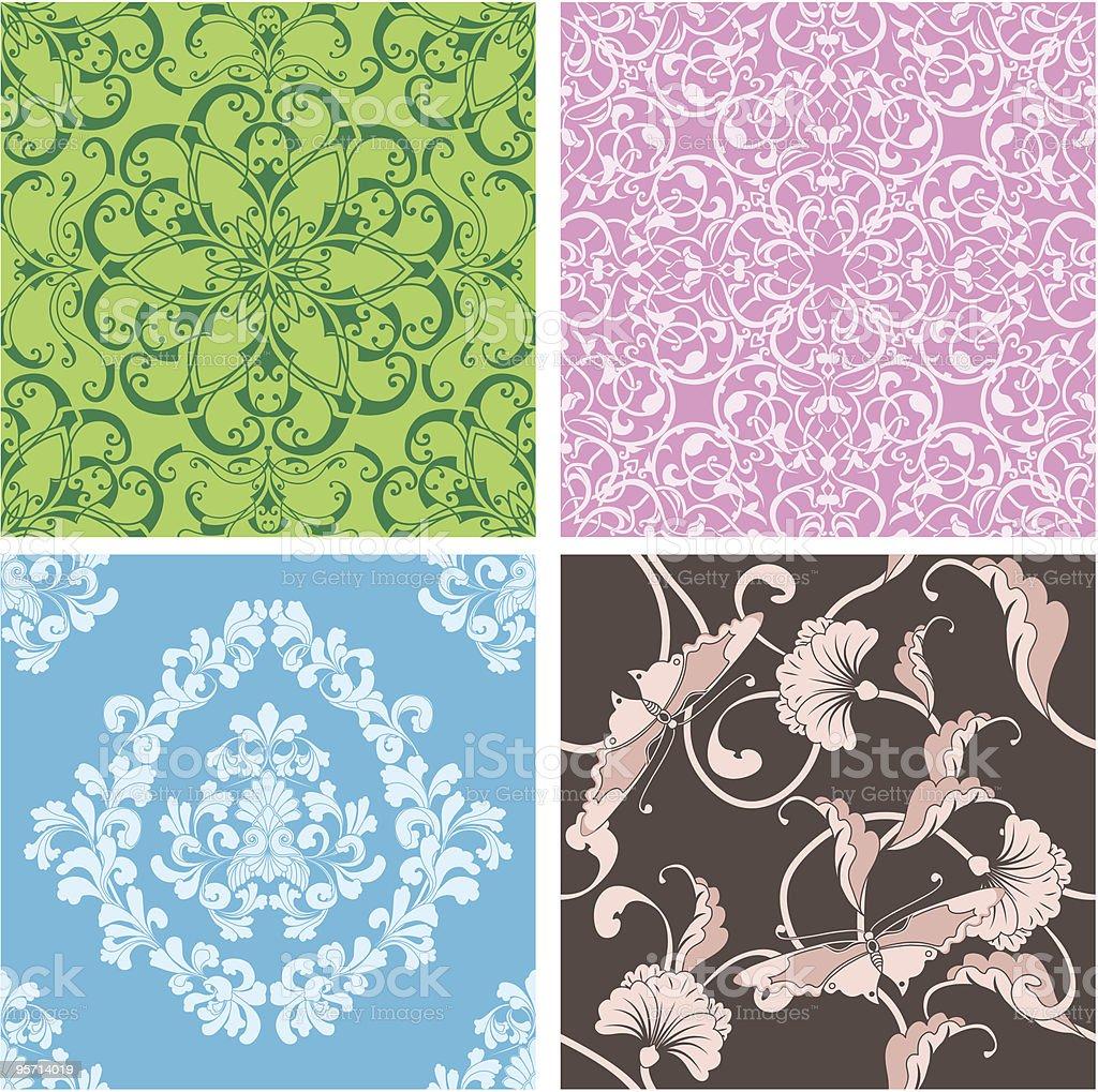 beautiful natural seamless tile design set royalty-free stock vector art