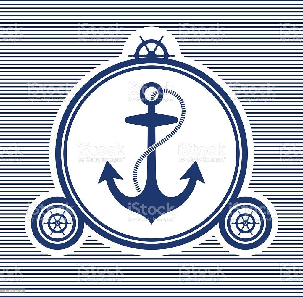 Beautiful navy blue anchor wallpaper cover art  royalty-free stock vector art